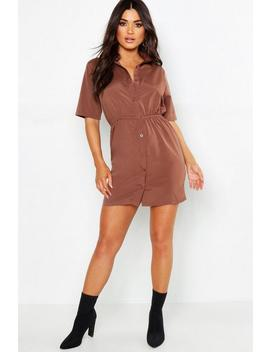 Woven Button Through Shirt Dress by Boohoo