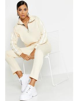 Side Stripe High Neck Zip Detail Tracksuit by Boohoo