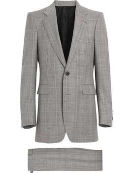 Slim Fit Prince Of Wales Check Wool Cashmere Suit by Burberry