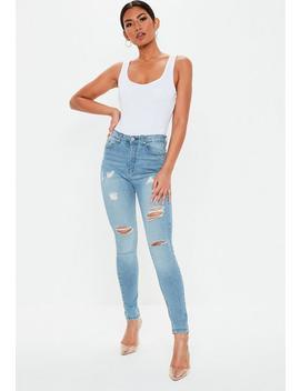 Jean Skinny Bleu Sinner Taille Haute Destroy by Missguided