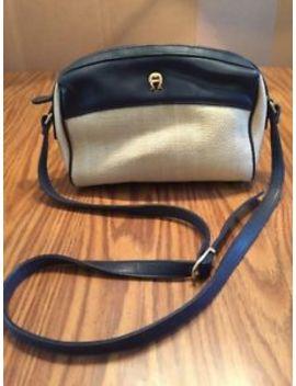 Etienne Aigner Blue With Beige Woven Faux Straw Shoulder Bag Purse Zip Close by Etienne Aigner