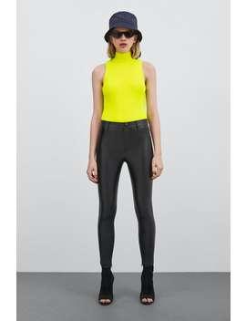 Coated  Leggings Mit Hohem Bund Alles Anzeigen Hosen Damen New Collection by Zara