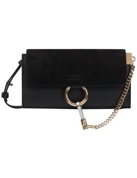 Faye Long Wallet In Smooth And Suede Calfskin With Adjustable Strap Black Leather Cross Body Bag by Chloé
