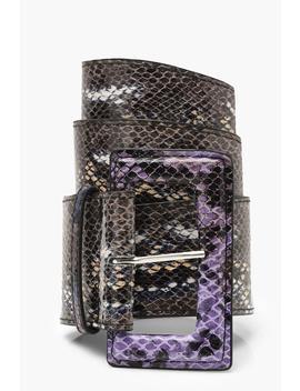 Multi Colour Snake Wide Waist Belt by Boohoo