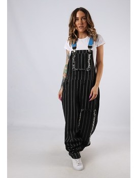 Vintage Denim Striped Dungarees Bich Reworked Tall 14 (Acv) by Bich