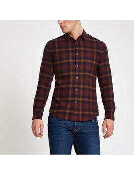 Only & Sons Purple Check Long Sleeve Shirt by River Island