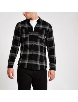 Only & Sons Grey Check Long Sleeve Shirt by River Island