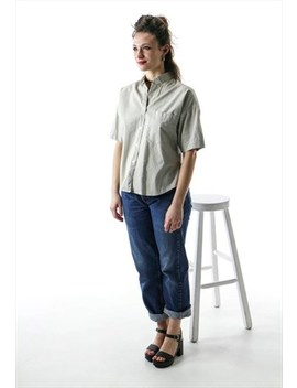 Beige Short Sleeve Blouse / Basic Boxy Shirt by Les Oubliettes