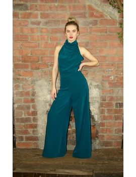 High Neck Wide Leg Jumpsuit Teal Prada by House Of Lily