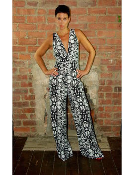 High Fitted V Neck Jumpsuit Black And White Print by House Of Lily