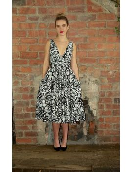 V Neck 50's Skater Dress Black/White Butterfly by House Of Lily
