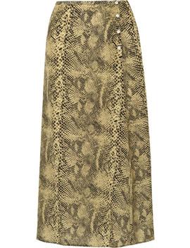 Moody Snake Print Silk Crepe De Chine Midi Skirt by Sandy Liang