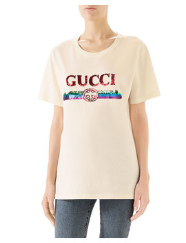 Crewneck Short Sleeve Cotton T Shirt With Sequined Logo by Gucci