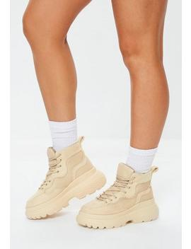 Stone Double Sole Hiking Trainers by Missguided