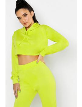 Hooded Crop Sweat Raw Edge by Boohoo