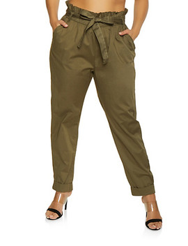 Plus Size Belted Paper Bag Waist Pants by Rainbow
