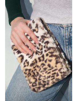 Cheetah Print Fuzzy Clutch by Brandy Melville