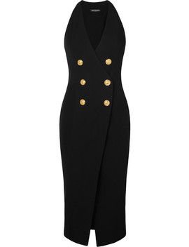 Button Embellished Stretch Knit Midi Dress by Balmain