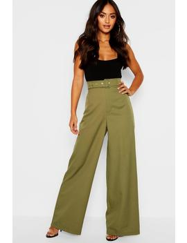 Petite Self Belt Utility Trouser by Boohoo