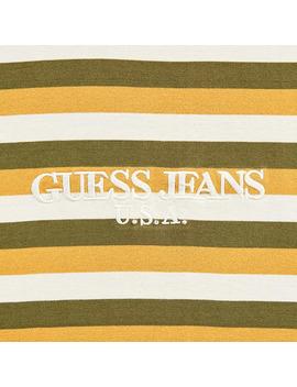 Stripe Crewneck T Shirt Thai Curry Multi by Guess Jeans U.S.A.