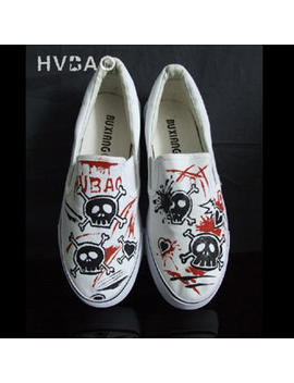 "Hvbao   ""Skull"" Canvas Slip Ons by Hvbao"
