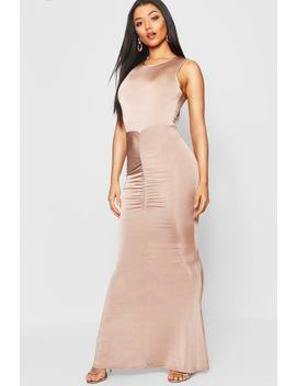 High Neck Ruched Detail Fishtail Maxi Dress by Boohoo