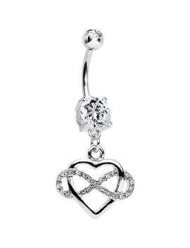 Clear Double Cz Infinite Love Infinity Heart Dangle Belly Ring by Body Candy