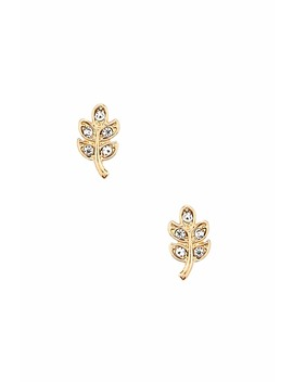 Rhinestone Leaf Stud Earrings by Forever 21