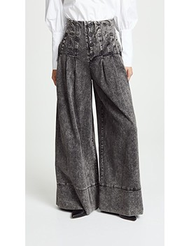 Noir Denim High Waisted Corset Pants by Sea