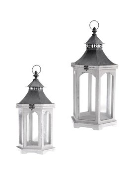 Rosecliff Heights Distressed Outdoor Hanging Wood Lantern & Reviews by Rosecliff Heights