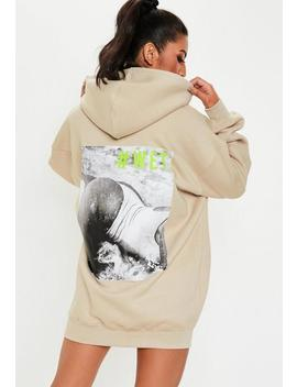 Stone Oversized Graphic Hooded Sweater Dress by Missguided