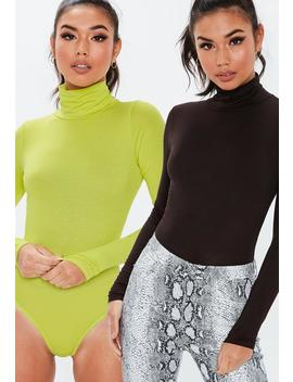 Chocolate And Lime 2 Pack Roll Neck Bodysuits by Missguided