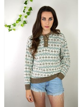 90s Vintage Fair Isle Patterned Knitted Jumper by Ica Vintage