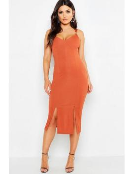 Rib Trim Detail Midi Dress by Boohoo