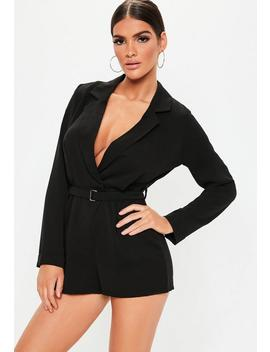 Petite Black Plunge Tuxedo Playsuit by Missguided