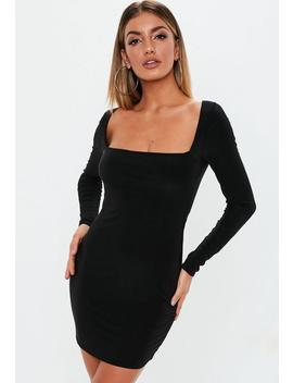 Black Double Layer Slinky Wide Neck Mini Dress by Missguided