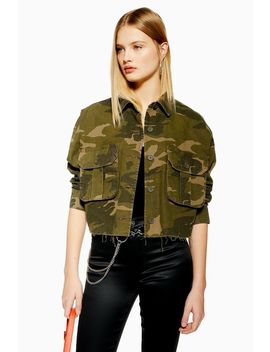 Raw Hem Camouflage Shacket by Topshop