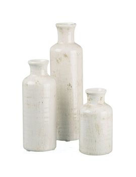 Antiqued White Bottle Vase Set by Pier1 Imports