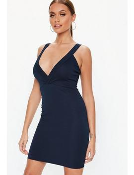 Navy Ponte Plunge Bodycon Dress by Missguided