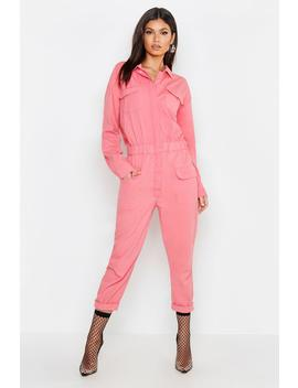 Pink Utility Denim Boiler Suit by Boohoo