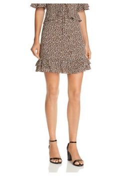 Flounce Hem Leopard Print Skirt   100 Percents Exclusive by Aqua