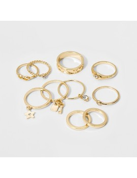 Single Ring With Circle And Key Ring Set 10ct   Wild Fable™ Gold by Wild Fable