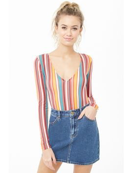 Striped V Neck Bodysuit by Forever 21