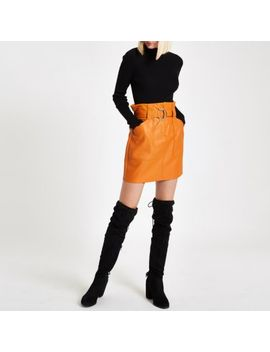 Mustard Paperbag Belted Mini Skirt by River Island