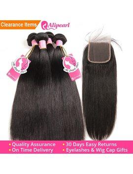 Ali Pearl Hair 100 Percents Human Hair Bundles With Closure Brazilian Straight Hair Weave 3 Bundles Natural Black Remy Hair Extensions by Ali Pearl