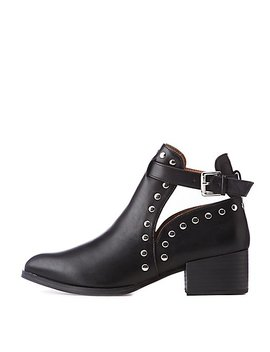 Qupid Studded Ankle Booties by Charlotte Russe