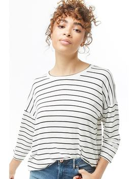 Striped Boxy Crew Neck Top by Forever 21