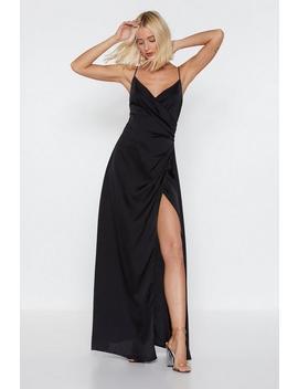 Satin Wrap Dress Maxi by Nasty Gal