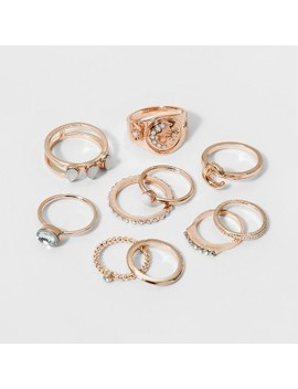 Single Ring With Crescent And Stone Ring Set 10ct   Wild Fable™ by Wild Fable