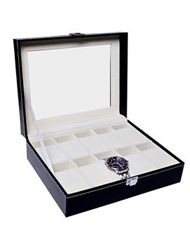 Watch Box Case By Harcas. 10 Slot Holder With Glass Display. Beautiful Faux Leather With Velvet Interior And Cushions. Black. by Harcas